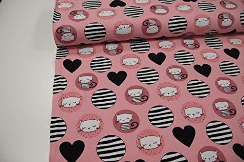 Stoff / Meterware / ab 25cm / beste Jersey-Qualität / Jersey Katzen im Kreis, Herzen auf rosa (Jersey Katze)