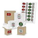 DIY itenga AdventskalenderSet V03 zum Selberbefüllen 24x Quader Würfel gemischt WEISS/BRAUN (Kraftkarton) + Sticker (Motiv Z28 Strickoptik)