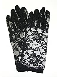 Short Black Lace Gloves - with Fingers