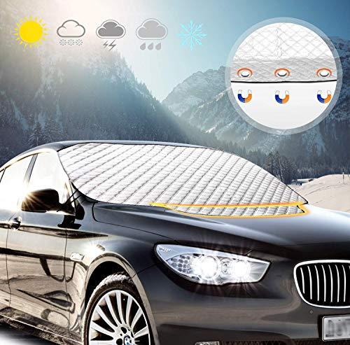 QEUhang Auto Scheibenschutz Front Sonnenblende Frontscheibe Abdeckung Schutz vor Sonne, Schnee, EIS, Frost, Staub (116 X 147 cm)