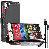 Yousave Accessories HTC Desire Eye Case PU Leder Book Wallet Stand Cover mit Mini Stylus Pen und Micro-USB Kabel–Schwarz