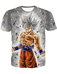 PIZZ ANNU Dragon Ball Series Camiseta Hombre 3D Dragon Ball Print Camiseta Sencilla Creativa de Manga Corta 85% poliéster 15% Spandex Verano Ropa de Manga Corta Talla Europea S-2XL