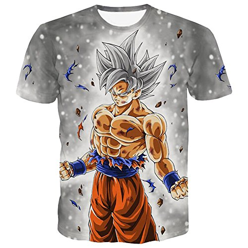 PIZZ ANNU Dragon Ball Series T Shirt 3D Dragon Ball Stampa T Shirt Semplice e Creativa per lUomo 85% Poliestere 15% Spandex Suer Short Sleeve Clothing