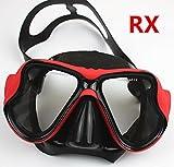 YEESAM SWIM Tauchermaske kurzsichtig Diving Tauch Schnorchel Maske NEARSIGHTED Verschreibung RX Sehstärke Mass Angefertigt (Different 2 Augen)