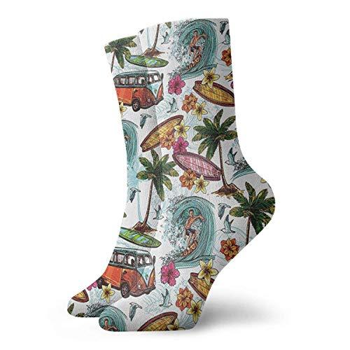 Elite Verkauf Kostüm Für - VTYOSQ Socks Breathable Hawaiian Surf Crew Sock Exotic Modern Women & Men Printed Sport Athletic Socks 30 cm (11.8 inch)