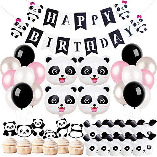 Kreatwow Panda Party Dekorationen liefert Mädchen Geburtstag Banner Favor Taschen für Panda Bär Geburtstag Baby Shower