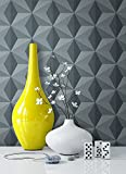 Tapete Vlies Grau Blau Grafik Optik   schöne, edle Tapete im modernen Design   für Wohnzimmer, Schlafzimmer oder Küche inklusive Newroom Tapezier Profibroschüre mit Tipps für perfekte Wände