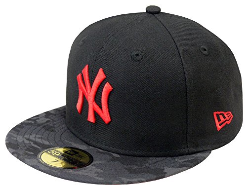 NEW ERA Baseball Cap 59FIFTY NY Yankees contrast camo fitted hot red Gr. 7 5/8 (Camo Schwarze New Era)