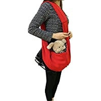 Ducomi® - Transportín bandolera, de suave tela de paño, para perros y cachorros, rojo