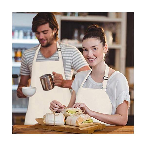 Viedouce 2 Pezzi Grembiule da Cucina Chef,Grembiule da Ristorante BBQ Bar Chef Cucina,Regolabile Grembiuli con Tasche… 5 spesavip