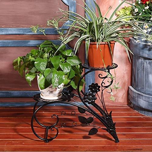 Metallic-breite Schreibtisch (LSXLSD Europäische Schmiedeeisen Blume Regal Boden mehrschichtige Indoor Wohnzimmer Topf Rack Schreibtisch Blume Bonsai Regal (Color : Metallic))