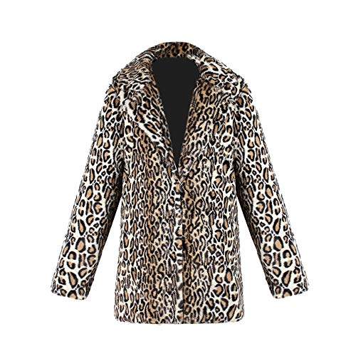 CICIYONER Frauen Langarm Leopard KunstJacke Top, Damen Leopard Drucken Warm KunstMantel Jacke Winter...