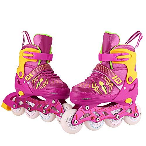 Inline Skates Kinder/Jungen/Mädchen Canvas Design Einstellbare Rollschuhe Kinder Mit Leucht PU Räder Dreifach Schutz Leichte Inline Skates (Rosa/Gelb, L:39-42 EU)