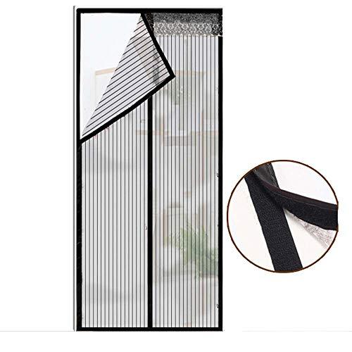 EP-Magnetic Screen Door Magnetische weiche Bildschirm-Tür, verschlüsselter moskitosicherer staubdichter Leichter Maschenvorhang, passend für Balkontür, Wohnzimmer, Schlafzimmer,Black,85cm