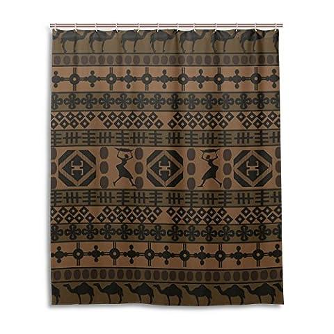 suabo Polyester Stoff Vorhang für die Dusche Wasserdicht Dekorative Badezimmer Vorhang mit 12Haken 152,4cm (W) X 182,9cm (H) Zoll, African Tribal Totem Muster design 4