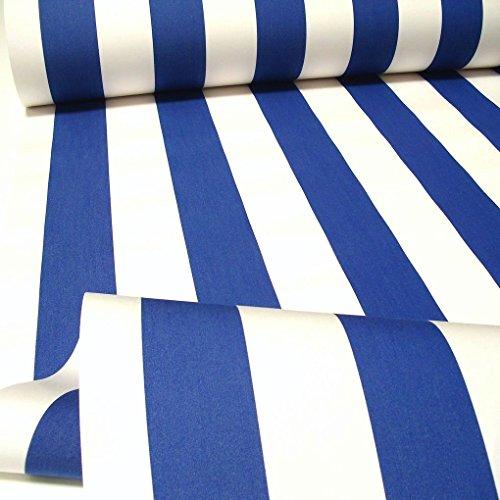 Tolko Stoffe Markisen-Stoff - wasserdicht reißfest UV-Schutz 50+ Meterware am Stück - Marineblau Weiß - Blau Weiß Stoff Gestreiften Und
