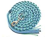 VIVA NATURE Handgemachter Führstrick mit Klatsche \ ca 2,50m \Karabiner leicht tauschbar \ Pferd \Reiten (blautöne)
