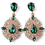 iDealhere 1pair Lujo Mujeres Cristal Lágrima Declaración Pendientes de la Piedra Preciosa (Verde)