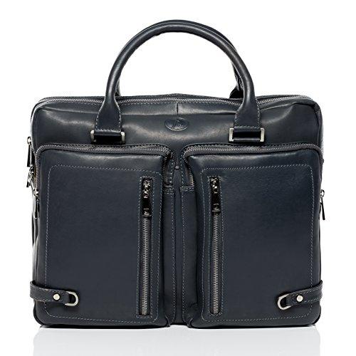 FERGÉ XL Laptoptasche BETH - Unisex Umhängetasche XL groß Ledertasche fit 15.4 Zoll Laptop Ordner mit gepolstertem Gerätefach - Businesstasche Damen Herren...