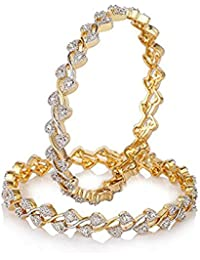 Zeneme Leaf Shaped American Diamond Gold Plated Bangles Jewellery For Women / Girls