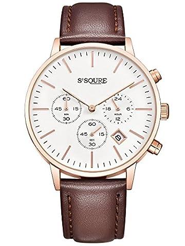 Alienwork Quarz Armbanduhr Multi-funktion Uhr Herren Uhren Damen Zeitloses Design Leder weiss braun