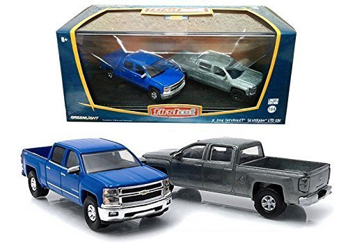 greenlight-164-first-cut-2014-chevrolet-silverado-ltz-z71-pickup-truck-set-by-greenlight