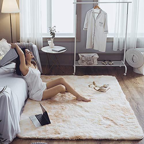 Love House Langflor Shag Teppich, Weich Fluffy Teppich Für Schlafzimmer Wohnzimmer Geflochten Plüsch Fußmatten Bettseite Teppiche,rechteck -beige 120x160cm(47x63inch) -