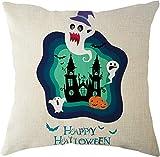 SHUCHANGLE (2pcs/Set Halloween Thema Leinen Kissen Horror Geister Burg Muster Bunte Dekorative Hause Kissenbezüge