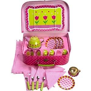 Bigjigs Toys Service à thé à fleurs rose