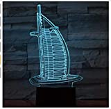 Burj Dubai 3D llevó la luz de la noche de moda Rgb cambiante lámpara de humor Led luz Usb decorativa lámpara de mesa caja de luz