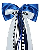 Unbekannt große 3-D Schleife - 24 cm breit u. 54 cm lang - Geschenkschleife / Geschenkband - blau weiß schwarz - für Geschenke und Schultüten