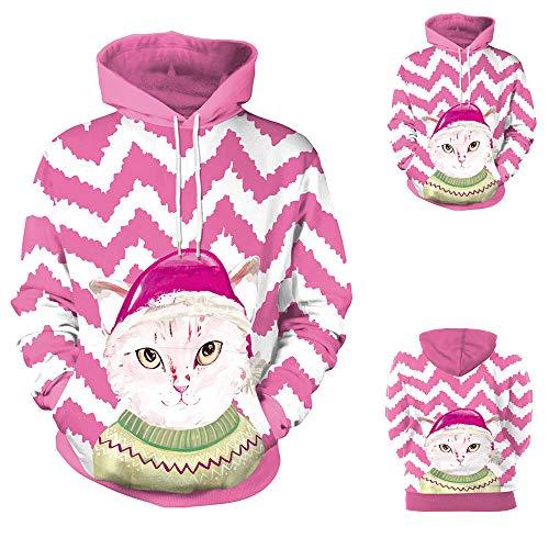 Jkhhi Weihnachten Hoodie Kapuzenpullover Pink Katze 3D Print Kapuzenpulli Sweatjacke Kapuzenjacke Fashion Spleißen Pullover Freizeit Langarm Unisex Tops Mantel Drawstring Tasche -