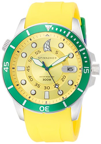 Spinnaker Helium Diver Men's Quartz Watch with Yellow Analogue Display on Yellow Silicon Band SP-5005-014