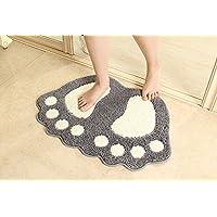 ParaCity Tapis de bain antidérapant Motif grands pieds Pour salle de bain, douche Absorbant, gris, 48*67CM