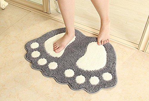 paracity Badematte, rutschfest, große Füße Badezimmer Dusche Teppiche Shaggy Teppich saugfähig Fußmatte Fußmatte, grau, 40 x 60cm (Große Rutschfeste Badteppich)