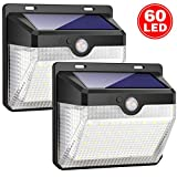 Picture Of iposible Solar Lights Outdoor, Upgraded [ 2 Pack ] 60 LED Solar Powered Lights 270º Wide Angle Lighting 180° Sensor LED Wireless Waterproof Solar Security Lights Solar Wall Lights 3 Modes for Garden