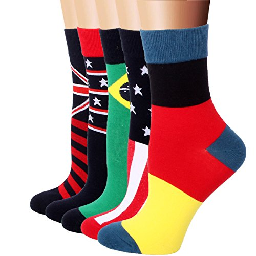 rioriva-women-casual-cotton-rich-comfortable-the-national-flag-dress-2-3-crew-socks-5-pack