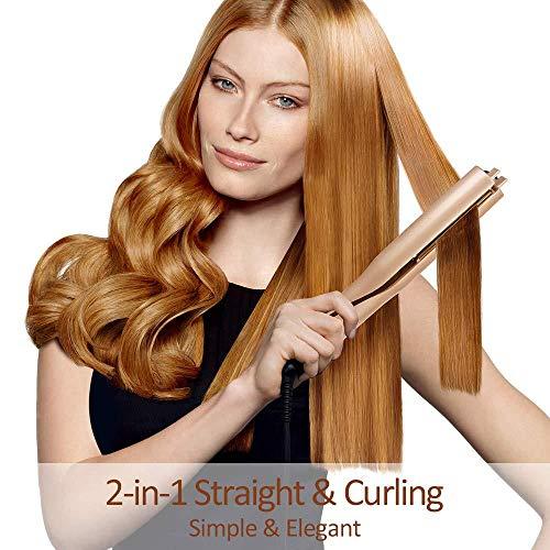 JMung\'S Lockenstab und Haarglätter 2 IN 1 360 ° freie Drehung 140 ℃ -220 ℃ mit Keramikplatte, Multi Styler für Long Short