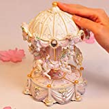 ZIXNXFY Spieluhr Kreative Geschenke Mini Karussell Spieluhr Mit Blinklicht Spieldosen Für Prinzessin Love Girl Valentinstag, C.