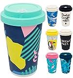 holi. Coffee-to-Go Bambus-Becher mit Schraubdeckel, Verschluss-Möglichkeit | Woodcup Kaffeebecher | Mehrweg-Becher Bamboo-Cup | lebensmittelecht, spülmaschinenfest (Back to The 80s)
