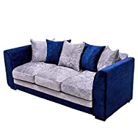 Beshomethings Luxurious Crushed Velvet Fabric Sofa Suite Upholstered With Cushion Pillow Removable Cover Royal Blue (Three Seater)