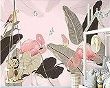 Fiartel Benutzerdefinierte Wandbilder tropische Palme Pflanze Magnolie Flamingo Nordic Hintergrund Wand idyllische handgemalte Tapete-430X300CM