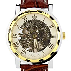 Orkina Mens Transparent Tourbillon Hand-Wind Mechanical Dial Brown Leather Strap Wrist Watch