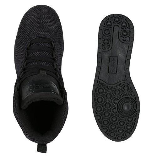 Sportliche Herren Damen Unisex Sport Schuhe Sneaker High Top Basketballschuhe Cultz 90's Style Schwarz