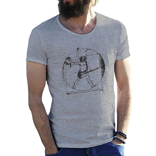 Friendly Bees Banksy Da Vinci Vitruvian Man Rock Guitar Cool Art Grau Herren T-Shirt 3X Large (Da Vinci Guitar Shirt)
