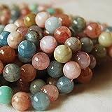 Alta qualità di grado AB naturale Beryl/morganite (arancione rosa) semi-pietra preziosa rotonda Beads–Filo di 40,6cm–4, 6, 8, 10mm Dimensioni, Orange/Pink, 6mm (65 - 68 beads)