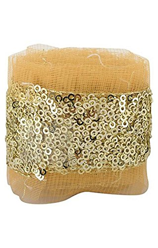 Fashion Sequence Net Laces for Dresses/Sarees/Lehenga/Suits/Caps/Bags/Decorations/Borders/Crafts - Gold - Combo Pack of 2 Meters