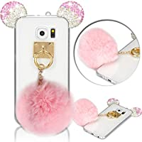 Samsung Galaxy S6 Edge Coque Mouse Ears Mignon Diamond Sparkle Silicone Housse Etui pour Samsung Galaxy S6 Edge TPU Silicone Clair Transparente Back Cover avec Boule de Poil Diamant Crystal Housse de Protection Case,Vandot Samsung Galaxy S6 Edge Ultra Mince Souple Case de Protection Etui-Rose