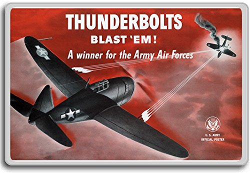 Thunderbolts Blast 'em Army Air Forces- Vintage War Aviation fridge magnet - Kühlschrankmagnet (Vintage Air Army)
