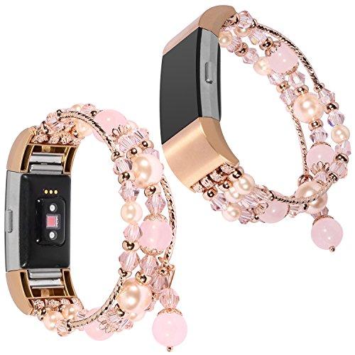 For Fitbit Charge 2 Armband, lala Pink Luxury Perle Naturstein Elastische Stretch Bead Armband Bands Ersatz Armbänder Band für Fitbit Charge 2 Dekorative Bands Frauen Mädchen (Pink)